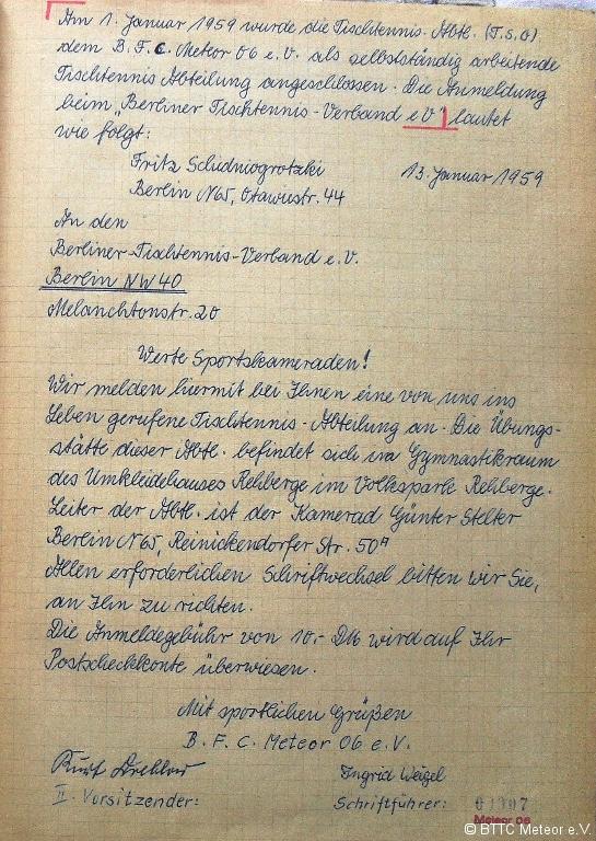 Gründungseintrag aus dem handschriftlichen Protokollbuch