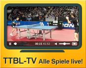 Alle Saisonspiele, Play-offs, das TTBL-Finale, sowie das Pokal-Finale live und als Video-on-Demand