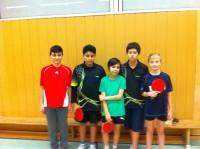 Unser B-Schülerteam der aktuellen Saison mit Eyybbcan, Roham, Roland, Max und Joélle (v.l.n.r.)
